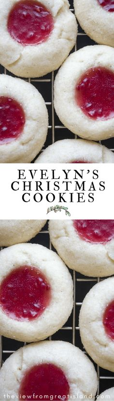 Reader's Recipes: Evelyn's Christmas Cookies --- buttery little jam thumbprint cookies perfect for the holidays and beyond! Evelyn's Christmas Cookies ~ easy little buttery jam thumbprint cookies perfect for the holidays! New Year's Desserts, Christmas Desserts, Christmas Treats, Christmas Baking, Christmas Cookies, Christmas Recipes, Christmas Jam, Xmas, Christmas Brunch