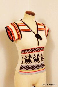1970s Vintage Indie hipster Navajo Tribal print sweater sz XXS Woman or Childs 8-10