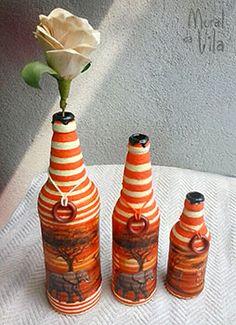 Африканская тема в бутылки украшены нитки, декупаж