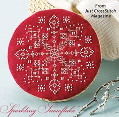 Sparkling Snowflake from the Jan/Feb 2016 issue of Just CrossStitch Magazine. Order a digital copy here: https://www.anniescatalog.com/detail.html?prod_id=128987