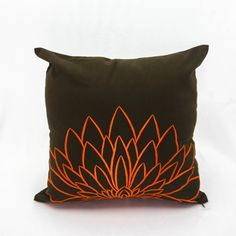Orange pillow cover made from dark brown linen fabric and embroidered with big orange sunflower. This pillow cover has hidden zipper and it is available in size 16 x 16, size 18 x 18, size 20 x 20, size 24 x 24 and size 26 x 26. Choose the size you need by using the Size drop down menus. This listing is for pillow cover only without insert.  More dark brown pillow covers are available here https://www.etsy.com/shop/KainKain?section_id=6743456&ref=shopsection_leftnav_1  This pillow cover is…