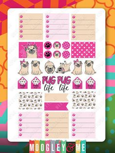 Pug Planner Stickers for your Horizontal or от MoogleyandMe