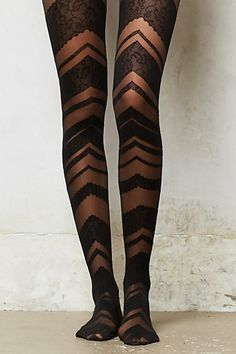 Chevron Lace Tights #anthropologie