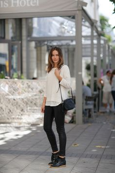 Knit from HM, tee from Caroline Blomst, leather leggings from Helmut Lang, bag from Gucci and sneakers from Marant. Wedge Sneakers Style, Wedged Sneakers, Women's Sneakers, Sneakers Fashion, Daily Fashion, Girl Fashion, Style Fashion, Caroline Blomst, Isabel Marant Bobby