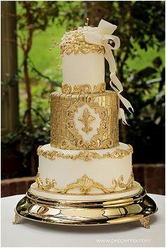 Two Tier Gold Detail White Wedding Cake | Dessert wedding ...