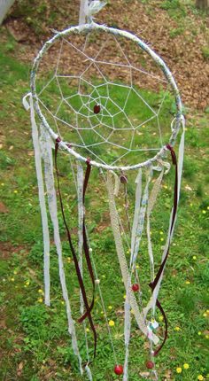 Boho Gypsy Inspired Dreamcatcher, OOAK Original with Lace, Glass, and Beads