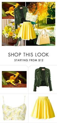"""Golden Poison"" by grateful-angel ❤ liked on Polyvore featuring Philipp Plein, Prada and Casadei"