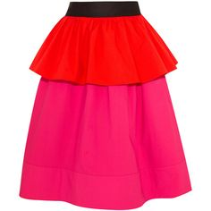 Isa Arfen Ruffled color-block stretch-cotton poplin skirt ($665) ❤ liked on Polyvore featuring skirts, pink, flounce skirt, frilly skirt, peplum skirt, pink skirt and pink frilly skirt