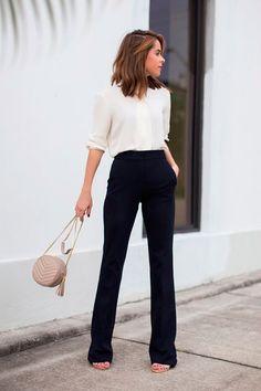 Calça social pantalona preta