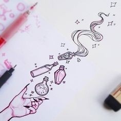 """""""Bottle"""" 🍼 one of my doodles today 😊✨🍼✨ Tattoo Designs Foot, Bottle Drawing, Small Tattoos For Guys, Art Tattoo, Tattoos With Kids Names, Art, Magic Art, Art Sketches, Magic Doodle"""