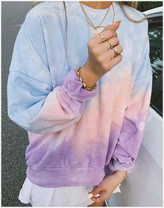 Autumn Casual Crewneck Gradient Cool Sweatshirts For Women Casual Tie, Casual Fall, Short Tie Dye, Moda Tie Dye, Batik Mode, Diy Tie Dye Shirts, Tie Dye Fashion, Girlie Style, Tie Dye Techniques