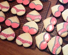 Keeping It Classy: Bra & Panty Cookies perfect for a sweet-themed lingerie shower; using a heart-shaped cookie cutter
