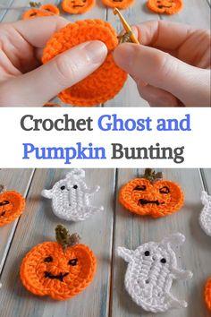 Crochet Pumpkin, Crochet Fall, Holiday Crochet, Free Crochet, Crochet Earrings Pattern, Crochet Cat Pattern, Crochet Patterns, Crochet Bunting, Crochet Garland