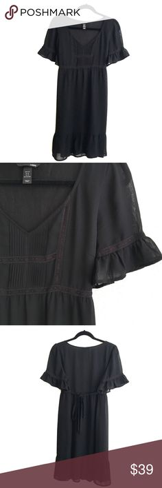 Cute Flirty Little Black Dress NWOT Very cute little black dress! Little cute details on top, sleeves and also bottom of the dress! Love the breeziness and light weight of this cutie! VERY VERY EXCELLENT CONDITION. H&M Dresses