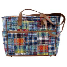 """The Lauren collection by Bella Taylor is inspired by southern charm. This colorful summer patchwork pairs classic plaids with summertime blues; trimmed in camel faux leather. Shown here in the Gabby. It is perfect for mothers or busy women who need a large main compartment to hold a planner, water bottle or camera. The hardware is shiny brass. The 4 inside pockets are all slip. The external pockets include 4 slip and 1 zip. The 2, 28x1"""" straps have a 13.5"""" drop. Price $49.95"""