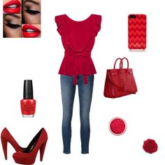 Bright Red Party by fashionstepper101 on Polyvore featuring Cynthia Rowley, Frame Denim, Dolce Vita, Yves Saint Laurent, Kate Spade and OPI