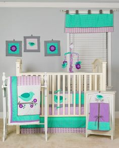 Pam Grace Creations 10 Piece Lovebirds Nursery to Go Crib Bedding Set Pam Grace Creations