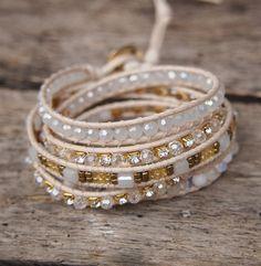 White and Gold Crystal beaded mix wrap bracelet Boho by G2Fdesign