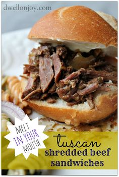 Tuscan Shredded Beef Sandwiches