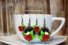Polymer clay earrings with red roses - ideal gift
