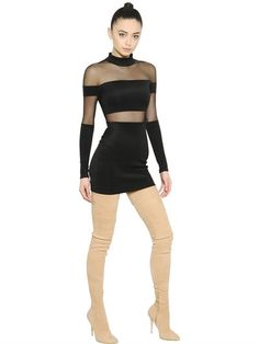 BALMAIN - STRETCH MILANO JERSEY & TULLE DRESS - BLACK