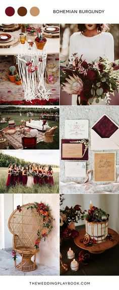Bohemian Burgundy Wedding Inspiration This burgundy and gold/neutral color palette is the perfect choice for a late summer or autumn wedding! Dark, soft, romantic, and dreamy. Chic Wedding, Fall Wedding, Dream Wedding, Trendy Wedding, Autumn Wedding Ideas, Wedding Reception, Wedding Venues, Lesbian Wedding, Wedding Bands