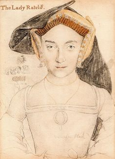 Probably Elizabeth Howard, Lady Ratclif, maternal aunt of Anne Boleyn and paternal aunt of Kathryn Howard by Hans Holbein (Royal collection)