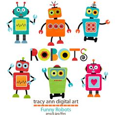 Robot Clip Art Set 1 by TracyAnnDigitalArt on Etsy, $7.95
