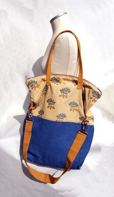 #Borsa #tessuto #tappezzeria #vintage #beige #sabbia #blu #azzurro carta da zucchero #ocra #floreale #chic #casual : Borse a tracolla di filoecoloridiila #handmade #bag #shoulderbag
