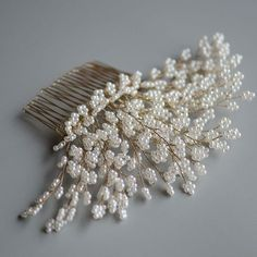 Pearls Tree Handmade Headpiece Gold Bridal Hair Comb. As its name, this handmade bridal headpiece features twigs made of numerous little round pearls, as if a pearl tree. This unique gold wedding comb has shown the high level of wiring technique and perseverance of the crafter in achieving the sheering details of each small branch. This hair accessory is perfect as prom and bridal jewelry which adorns a wide range of wedding hairstyles. #weddinghairstyles