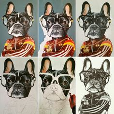 French Bulldog , Frenchie , work in progress , dog painting , canvas , teunen , Jeroen Teunen