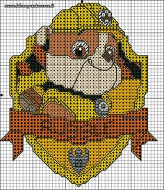 Paw patrol plastic canvas patterns toys figures clothes skye birthday gifts everest toy marshall zuma vehicles games ideas chase truck tracker new slippers rocky pajamas racers rubble ryder sale de… Cross Stitch For Kids, Cute Cross Stitch, Cross Stitch Charts, Cross Stitch Designs, Cross Stitch Patterns, Rubble Paw Patrol, Crochet Pixel, Crochet Cross, Crochet Pattern