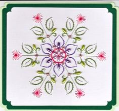 ED003 Flower Mandala on Craftsuprint designed by Emy van Schaik - made by   - Stitching with beads.You will enjoy making this flowermandala. I used rice or long grain beads, also little pearls. Yarns are from Madeira ( Rayon). - Now available for download!