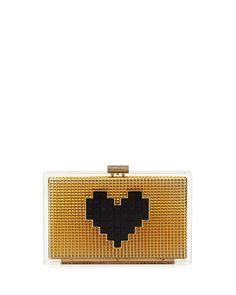 LES PETITS JOUEURS Les Petits Joueurs Grace Lolita Heart Clutch Bag, Gold. #lespetitsjoueurs #bags #shoulder bags #clutch #lining #suede #hand bags #