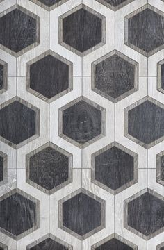 From Walker Zanger, Sterling Row Hexagon, a wood-finish ceramic tile. Photo 8 of 8 in New Kitchen and Bath Surfaces We Love by Erika Heet. Browse inspirational photos of modern homes. Floor Patterns, Tile Patterns, Pattern Art, Floor Design, Tile Design, Walker Zanger, Tiles Texture, Bathroom Flooring, Entryway Flooring
