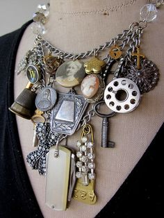 Vintage Necklace  Charm Necklace Bib Necklace--uses old bobbin and thimble and key