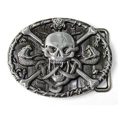 Fits 40mm Belts Quality Classic Belt Buckle Skull w// Wings /& Feathers Silver