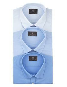 3 Pack 2in Longer Easy to Iron Long Sleeve Shirts   M&S