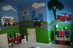 I would love to paint this in a child's room. DIY design for child's bedroom.