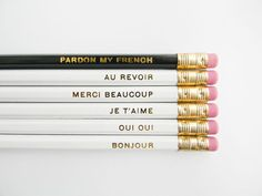 Pardon My French Pencils White Black Gold by AmandaCatherineDes