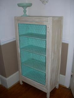 DIY furniture makeover with paint and chicken wire tutorial (jelly cupboard) This is from a great little blog