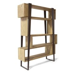 This sophisticated bookcase has a very particular look to it and will give any décor a unique and modern accent. Solid pieces of antique spruce wood were used to craft the intriguing forms of the rectangular shelves, each one in a similar yet Contemporary Bookcase, Vintage Bookcase, Luxury Italian Furniture, Minwax, Shelf Design, Cool Furniture, Shelves, Interior Design, Antiques