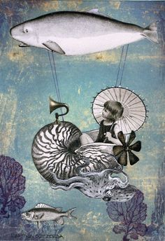 Undersea Steampunk Emma the Nautilusnaut PRINT by WinonaCookie.