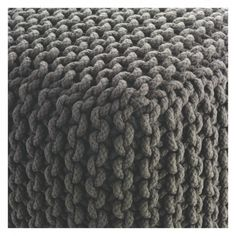 KNOT Charcoal knitted square pouffe | Buy now at Habitat UK