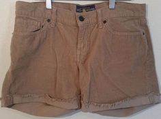 Luck Brand Cut Off Corduroy Camel Shorts Size 4/27 100% Cotton Mid Rise  #LuckyBrand #Cordoroy
