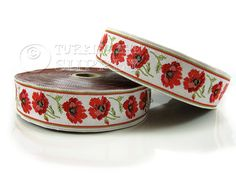 Poppy Floral Woven Border Embroidered Ribbon Sewing Trim White Red Green Jacquard Ribbon 1 Meter ( 1.09 Yards, 3.3 feet )