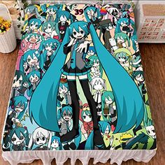 Vicwin-One Vocaloid Family Hatsune Miku Bedsheet Cosplay (Quilt Cover) *** For more information, visit image link.