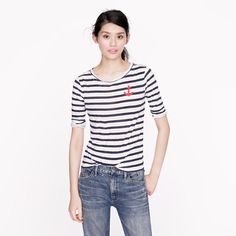 Elbow-sleeve tee in stripe with anchor. J.Crew, 30, but only 21 with the sale!