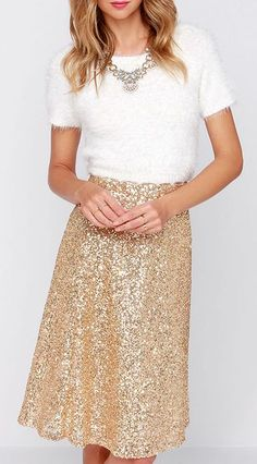 Go for the Gold Sequin Midi Skirt | .tyxgb76aj