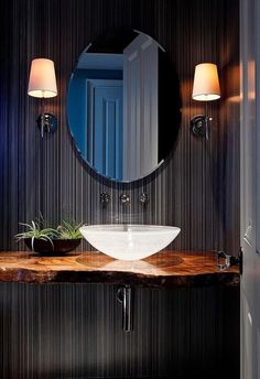 Bad Inspiration, Bathroom Inspiration, Ideas Baños, Decor Ideas, Decorating Ideas, Modern Sink, Modern Bathrooms, Modern Powder Rooms, Modern Wall